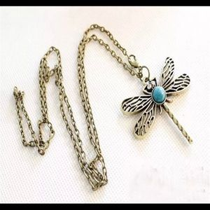 Jewelry - New bronze dragonfly turquoise pendant necklace